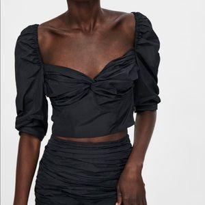 Zara black taffeta ruched draped crop top Bloggers